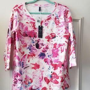 NYDJ Knit Popover Blouse NWT - Size Medium